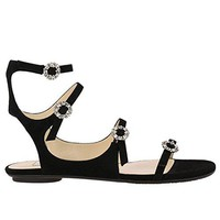 JIMMY CHOO Women's NAIAFLATUCS Black Leather Sandals