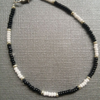 Black, Opaque White and Silver Seed Bead Bracelet