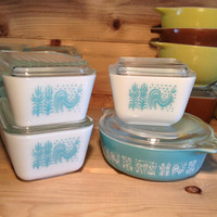 8 Pieces Pyrex Butterprint Turquoise Refrigerator Dishes and Casserole 501 502 & 471 With Lids