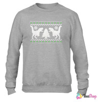 Funny Ugly Christmas T-Rex Sweater Crewneck sweatshirtt