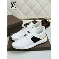 LV Louis Vuitton Men's Suede Leather Fashion Sport Sneakers Shoes