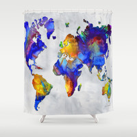Original Vibrant Colorful World Map Pop Art Style Painting By Megan Duncanson Shower Curtain by Megan Aroon Duncanson ~ MADART