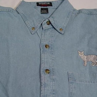SALE - Shorthair Tabby Cat Embroidered Large L/S Light Blue Denim Shirt - Price Embroidery Apparel