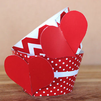 DIY Printable Patterned Heart Theme Cupcake Wrapper Set – bright red and white polka dot and chevron patterns INSTANT DOWNLOAD