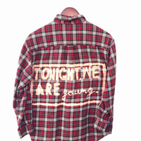 We Are Young Shirt - Bleached in Red Plaid Flannel. Fun.