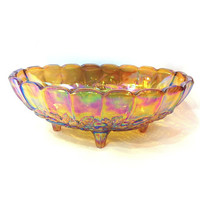 Vintage Carnival Glass Bowl Footed Bowl Serving Bowl Fruit Bowl Oval Bowl Iridescent Glass Scalloped Harvest Dinnerware Rainbow Candy Dish