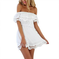 2016 Fashion women Elegant Vintage sweet lace white Dress stylish sexy slash neck casual slim beach Summer Sundress vestidos