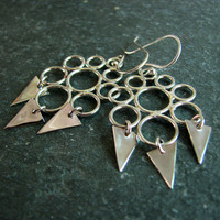 Geometric Chandelier Earrings - Circles and Triangles - Sterling Silver Earrings - Silver Earrings
