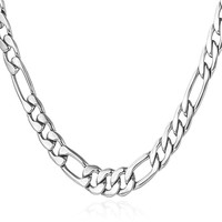 """5MM Men Necklace Stainless Steel Figaro Chain  [18"""", 22"""", 26"""", 28"""", 30""""]"""