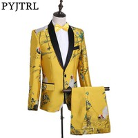 PYJTRL Mens Fashion Chinese Style God Yellow Embroidery Dress Suit Nightclub Singer Prom Grus Japonensis Tuxedo Clothes 2018