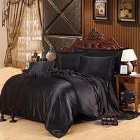 Solid Black Duvet Covers Cool Summer Luxury Jacquard Satin Silk Plain Duvet Cover Bedding For Queen/King Bed