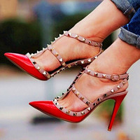 Two-Tone Slingback Sandal, Leather T-Strap Pumps for Women