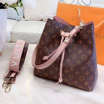 LV Louis Vuitton Fashionable Women Shopping Leather Bucket Bag Shoulder Bag Crossbody Satchel