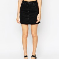 ASOS Denim Dolly Button Front Mini Aline Skirt In Washed Black