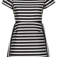 PETITE Satin Stripe A-Line Dress - Black