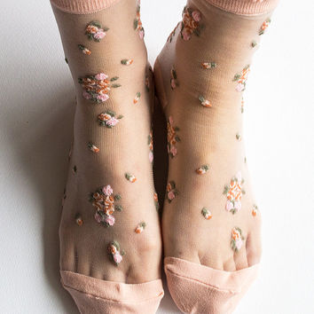 Women New Hezwagarcia HOT High Quality Adorable Blush Pink Floral Sheer Ankle Socks Hosiery