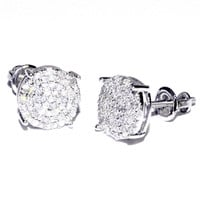 0.25cttw Diamond Round Earrings 10K White Gold Mens or Womens Earrings Screw back 10K White Gold
