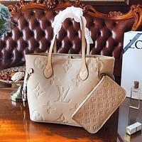 Louis vuitton LV fashion new woman embossed letter two-piece shopping handbag