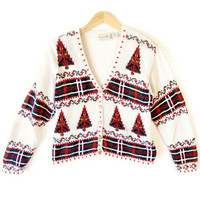 Vintage 90s Chunky Knit Christmas Tree & Plaid Ugly Holiday Sweater