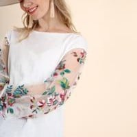 Umgee's Floral Embroidered Sheer Puff Sleeve Top with a Slub Knit Body