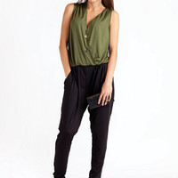 Fount All In One Overlap Jersey Jumpsuit Green