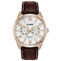 Citizen Eco-Drive Mens Analog Day/Date Watch - Rose Gold-Tone - White Dial