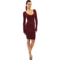 2017 Trending Fashion Women Slim Long Sleeve Round Necked Solid One Piece Dress _ 12615