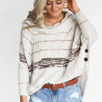 Best Friend Oatmeal Cowl Neck Knitted Sweater
