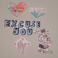 Set of Five Sassy Stickers