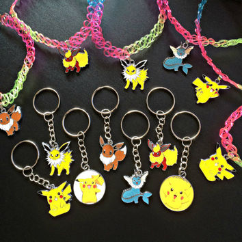 Pokemon Charm Keychain Leather Necklace Tattoo Choker Rainbow Pikachu Vaporeon Flareon Jolteon Eevee Anime Gift Cosplay Jewelry Fandom