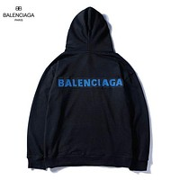 Balenciaga 2018 autumn new tide brand double BB printing loose wild hooded sweater Black
