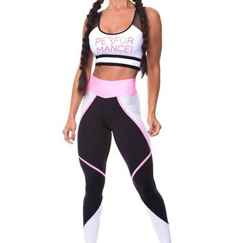 Letter Print Sports Tank Top with Skinny Pants Two Pieces Set