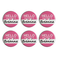 Breanna Hello My Name Is Plastic Resin Button Set of 6