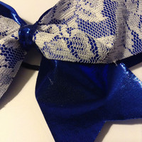 Metallic Blue & Lace Cheer Bow