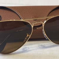 Cheap New Ray Ban RB3025 001/33 62mm Aviator Sunglasses Lens Brown B-15 Gold Frame outlet