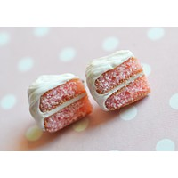 Pink Strawberry Cake Slice Post Earrings Polymer Clay Stud Earrings