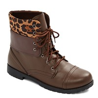 Leopard Cuff Faux Leather Boot