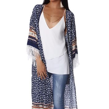 Navy blue longline kimono in floral print with fringe detail