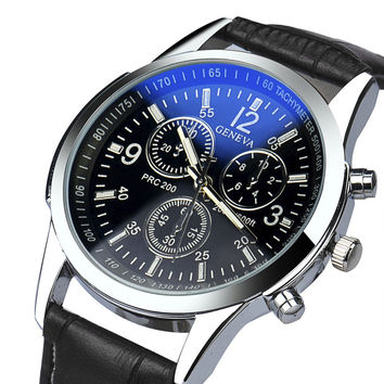 Luxury Faux Leather Mens Analog Watches Men's Watch Quartz Clock Military Relojes Luxury Business Watch CF