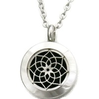 """""""Sacred"""" Lotus 316L Stainless Steel Essential Oil Diffuser Necklace- 20mm- 20"""""""