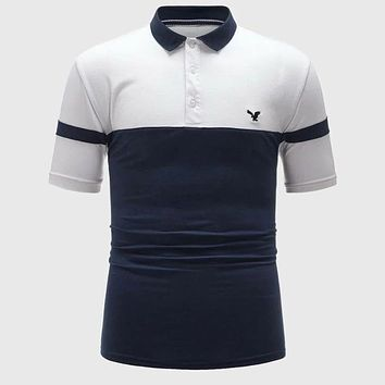 Fashion Casual Men Two Tone Eagle Embroidery Polo Shirt