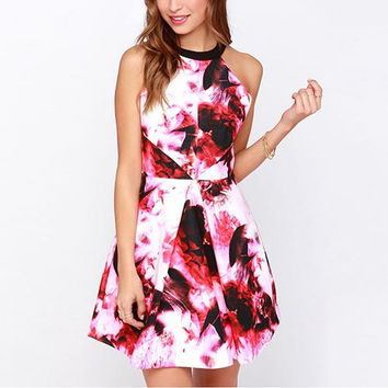 Red Ink Painting Print Cut Out Back Halter A-line Dress