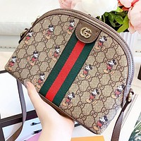 Hipgirls GUCCI & Disney New fashion more letter mouse print leather shell shoulder bag crossbody bag