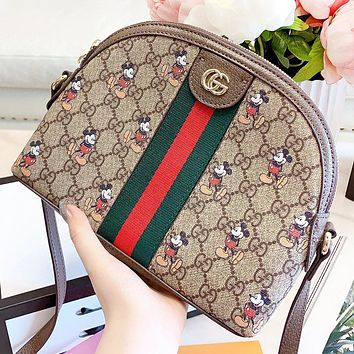 GUCCI & Disney New fashion more letter mouse print leather shell shoulder bag crossbody bag