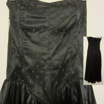 Katie MFG Strapless Black Charmeuse & Lace Cocktail Dress, Prom Dress, Dance Dress, Classic Style, Retro, Beauty w/Comfort, Easy to Wear