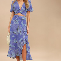 Views Periwinkle Blue Floral Print Two-Piece Maxi Dress