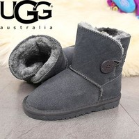 UGG Winter Women Warm Cute A Buckle Wool Snow Boots Shoes