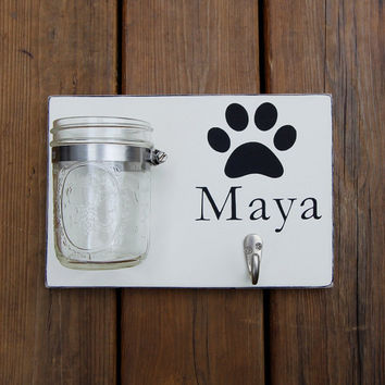 Personalized Dog Leash Holder, Custom Leash Hanger, Dog Name Wood Sign with Hook and Mason Jar Storage, One Name