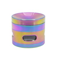 4Layers Herb Rainbow Grinder Pipes for Smoking Weed Utensils Tobacco Smoke Detectors Side Window Concave Smoke Crusher Narguile