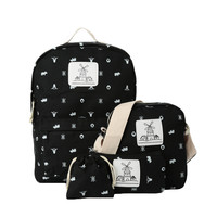 Deer Print Women Anime Backpack Mochila Escolar Shoulder School Bags For Teenagers Girls 4Pcs Set Canvas Backpacks